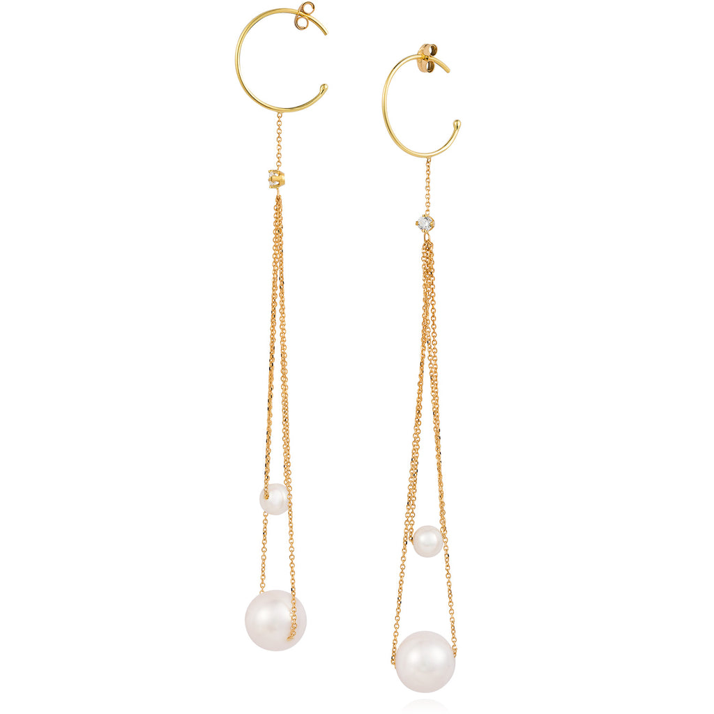 X18CT YELLOW GOLD HOOP EARRINGS WITH LOOPED CHAINS WITH PEARLS AND DIAMONDS