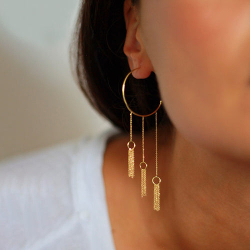 Take A Bow Hoop Earrings with 3 Tassels