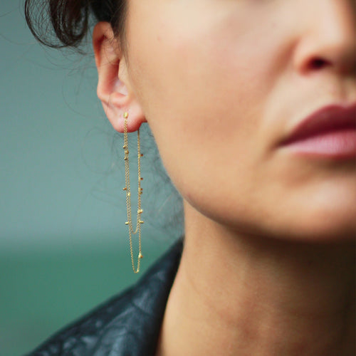 Long Double Drape Gold Dust Studs