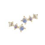 14CT YELLOW GOLD STUD EARRINGS WITH TWO MOONSTONES AND DIAMOND ROSE CUT