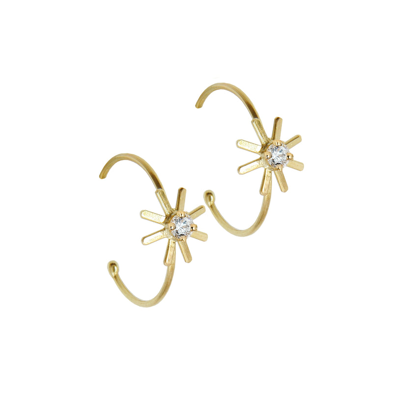 Pop Up Daisy Diamond Hoop Earrings