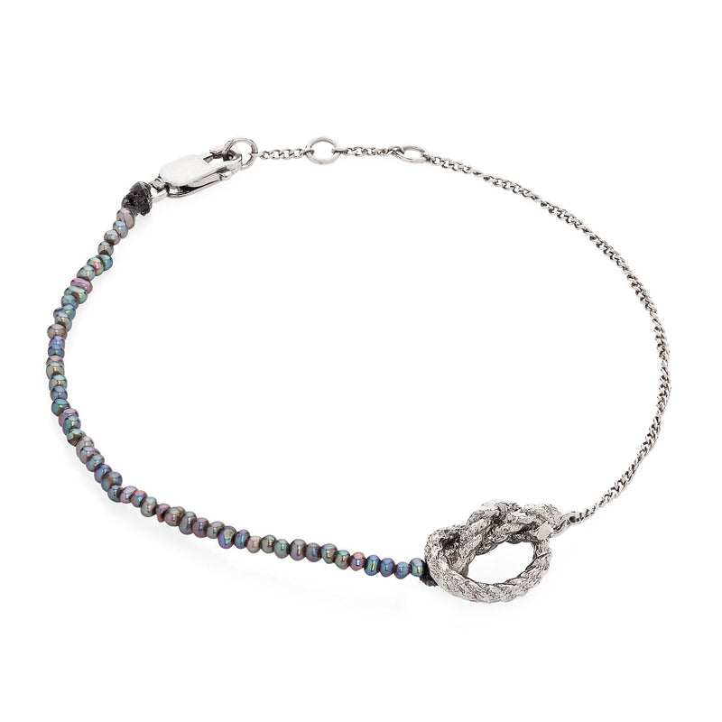 Kerry Huff Silver and Black Pearl Bracelet