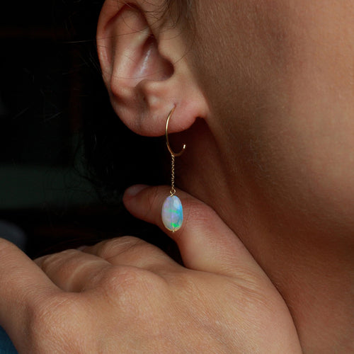 Opal Fountain Small Hoops with Opal Drops