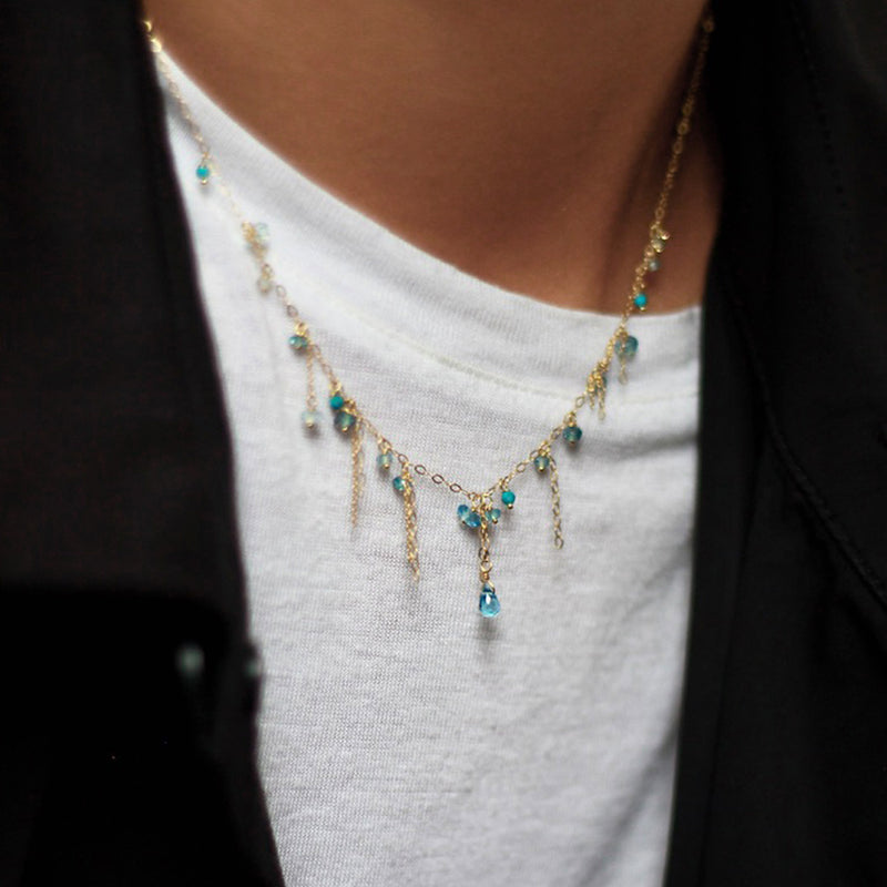 Pogo Punk Blue Topaz And Turquoise Necklace