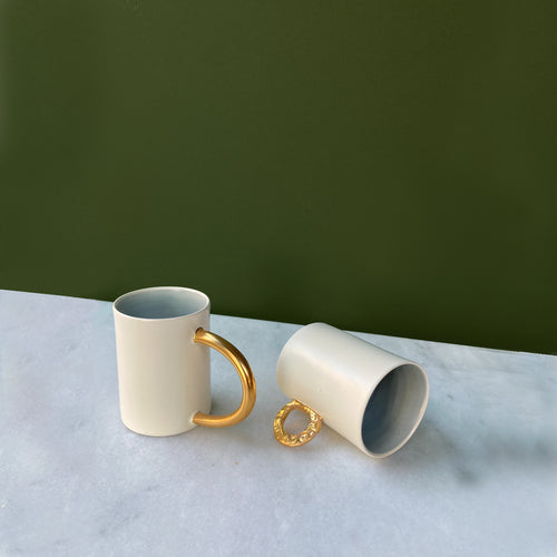Fliff Carr Espresso Cup with Extended Golden Handle