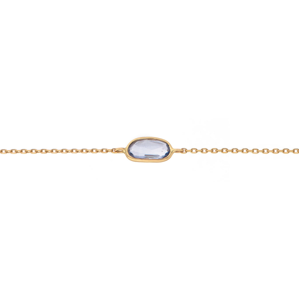 14CT YELLOW GOLD MAYA CHAIN BRACELET WITH BEZEL SET TANZANITE