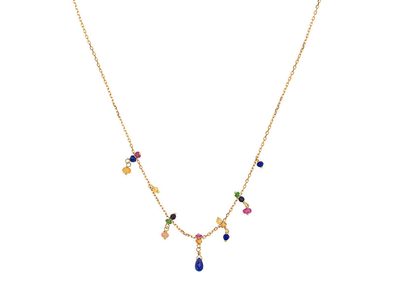 RAINBOW NECKLACE WITH PRECIOUS STATIONS