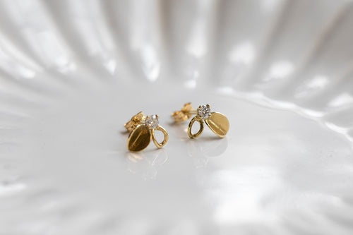 Sale Gold Leaf And Diamond Stud Earrings