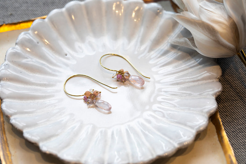 Sale Rose Quarz Drop Earrings