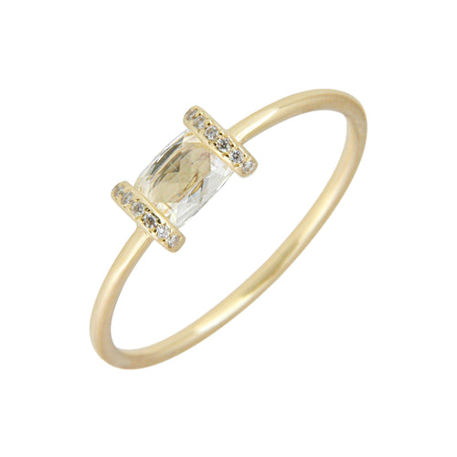 Rectangular Rose Cut Diamond Ring
