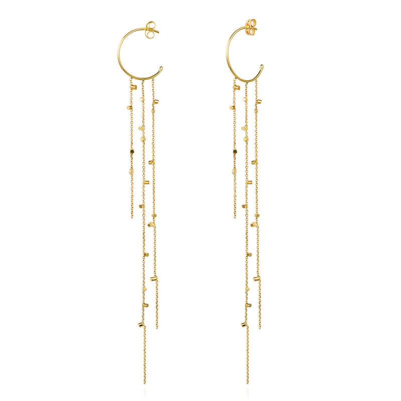 Gold Dust Hooplet Three Strand Earrings