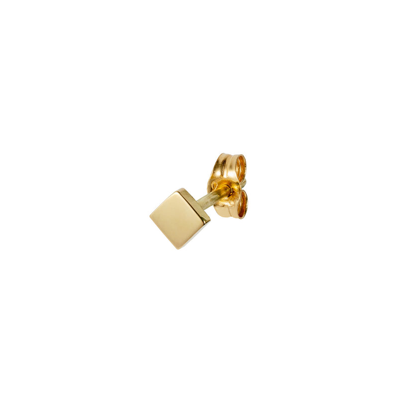 18CT YELLOW GOLD PLAIN SQUARE STUD