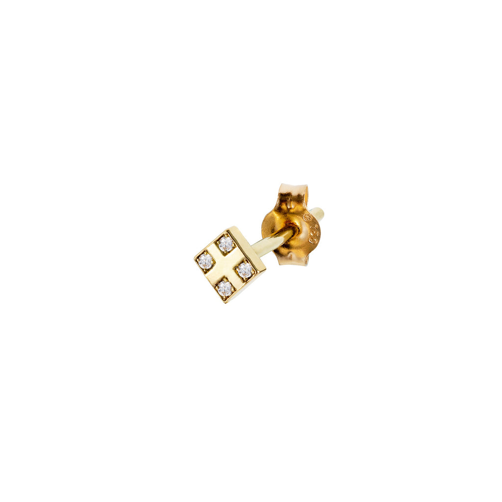 18CT YELLOW GOLD SQUARE STUD EARRING SET WITH 4 DIAMONDS IN CORNERS