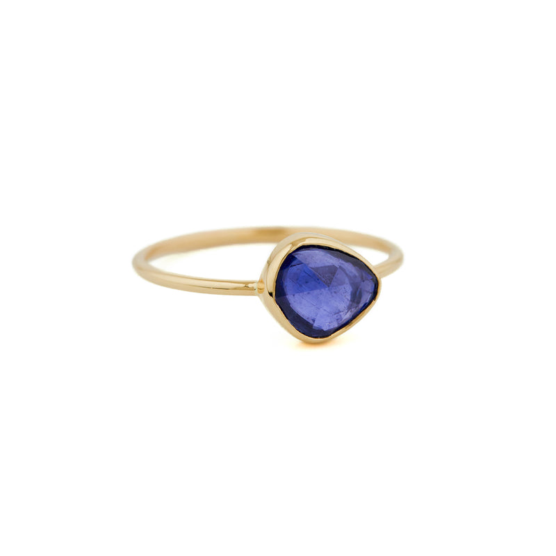 14CT YELLOW GOLD RING WITH BLUE TOURMALINE