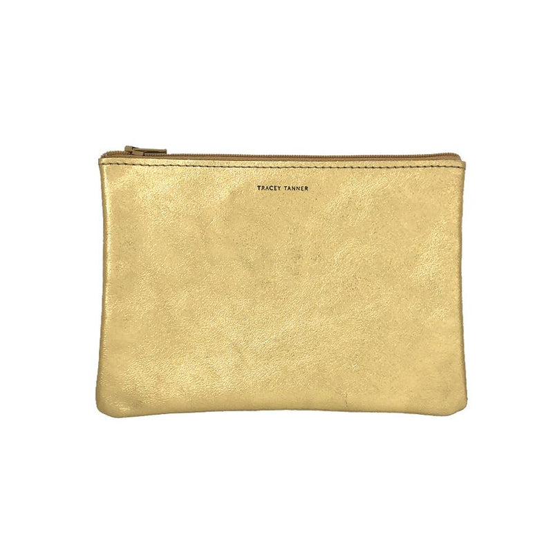 Tracy Tanner Flat Zip Pouch Gold Leaf Foil