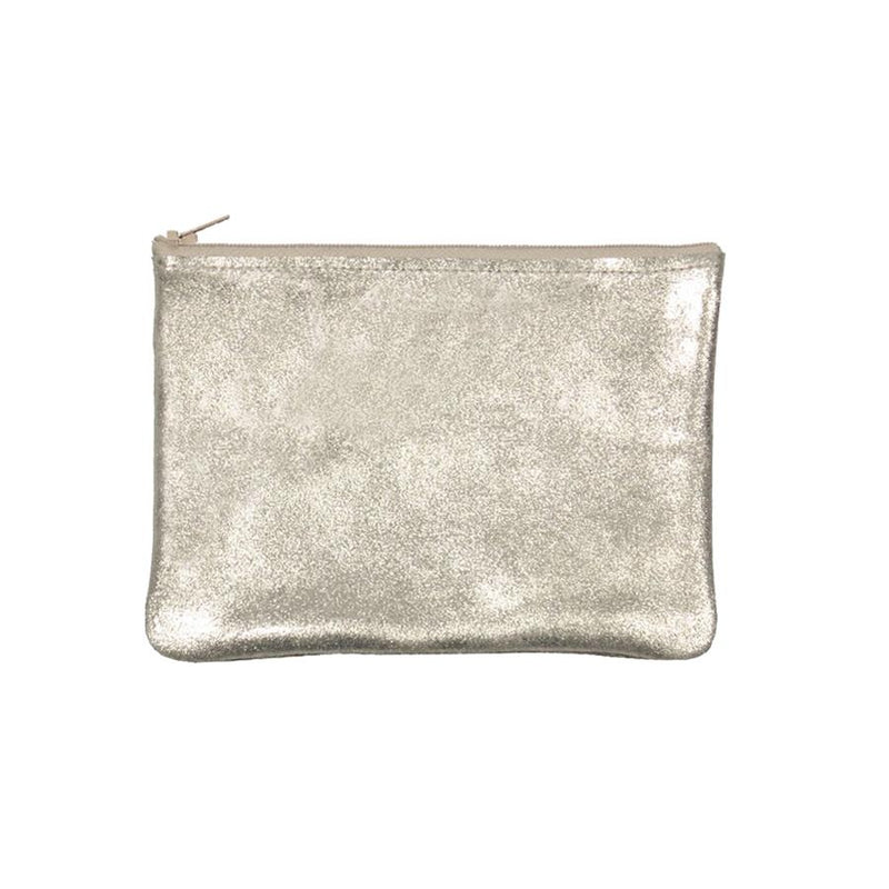 Tracy Tanner Medium Flat Zip Pouch Champagne Sparkle