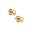14CT YELLOW GOLD STUD EARRINGS WITH MOONSTONE