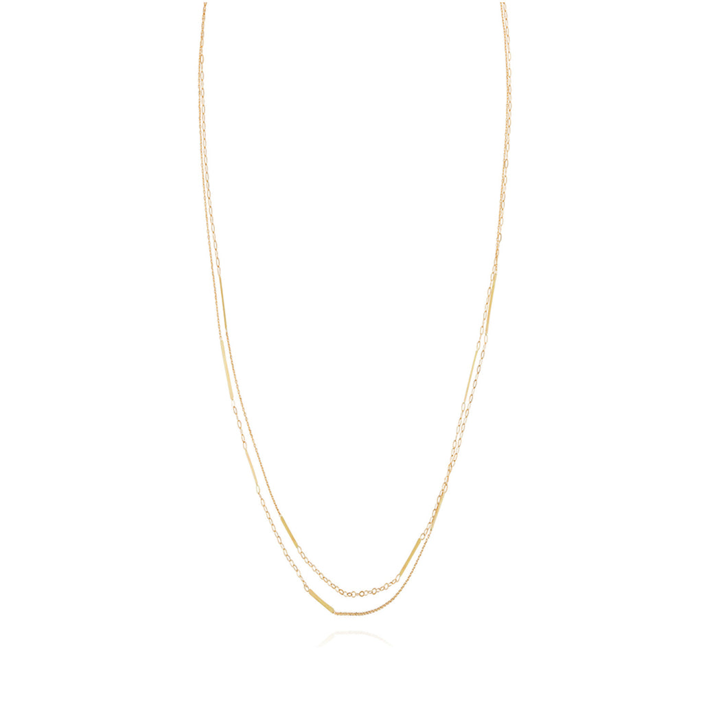 18ct yellow gold long chain necklace with inserted  golden bars
