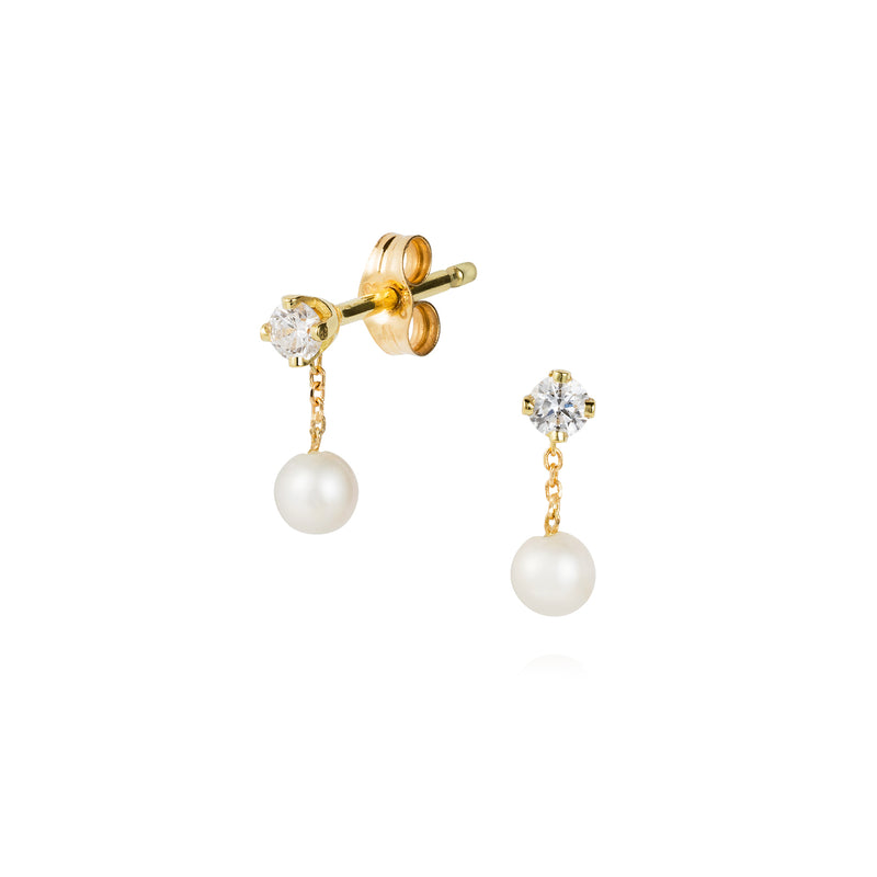 PEARL AND DIAMOND SMALL STUDS