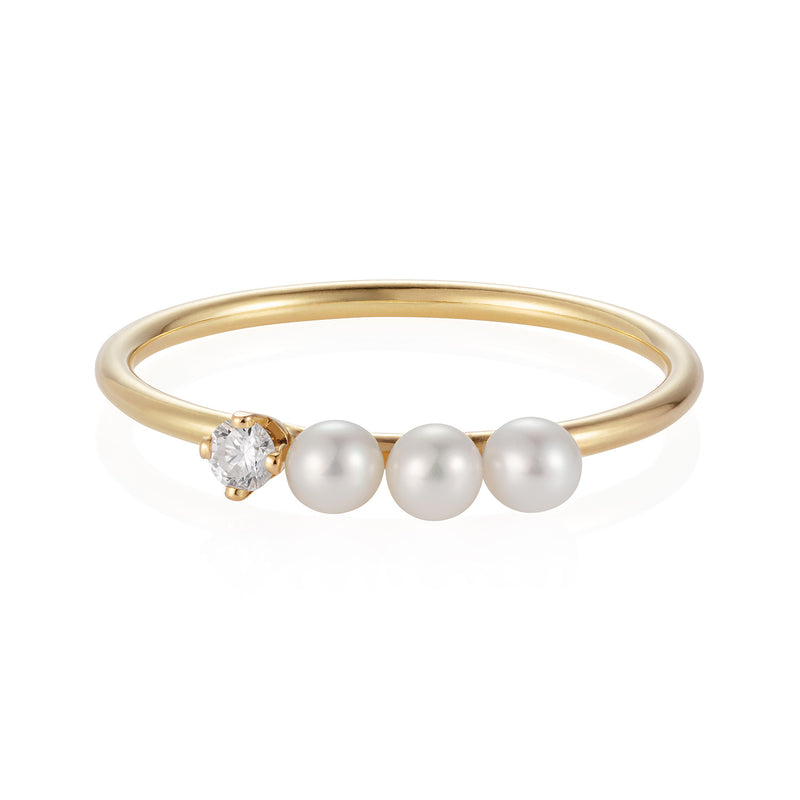 Diamond and Three Pearl Ring