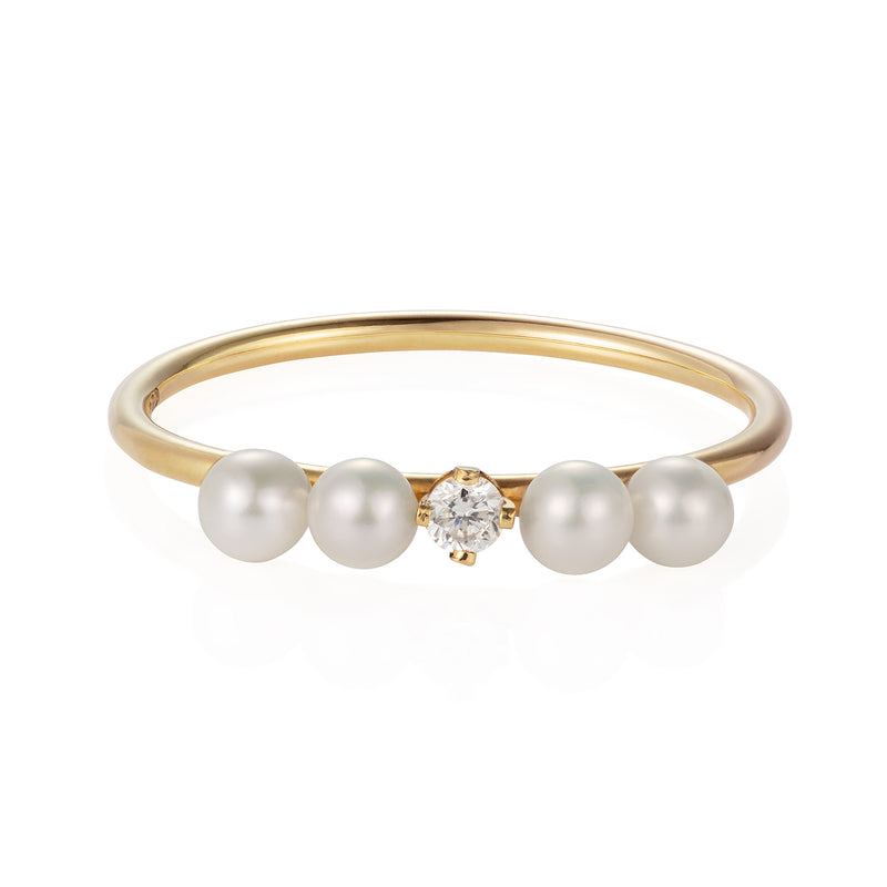 Diamond and Four Pearl Ring