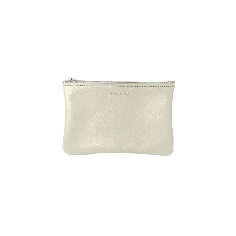 Tracy Tanner Small Flat Zip Pouch Pearl