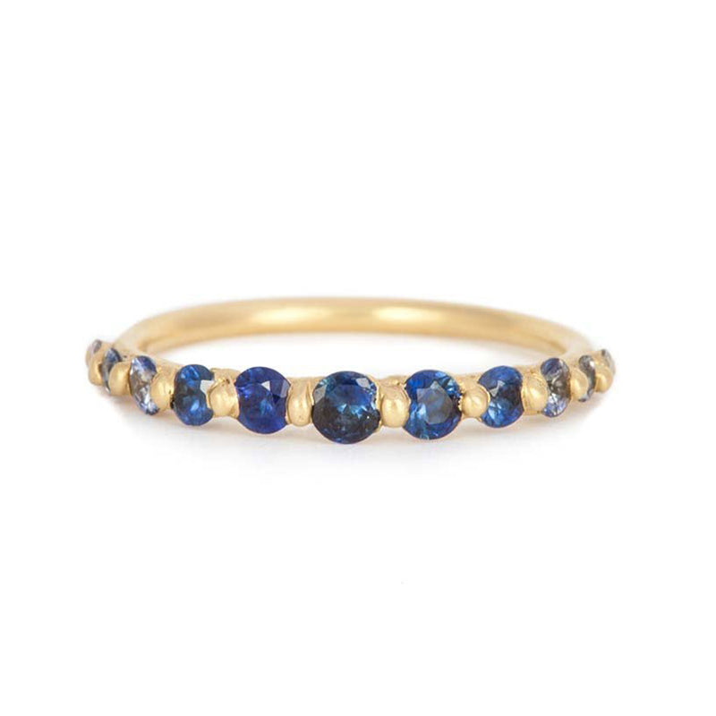 Polly Wales Ombre Blue Sapphire Iris Halo Ring