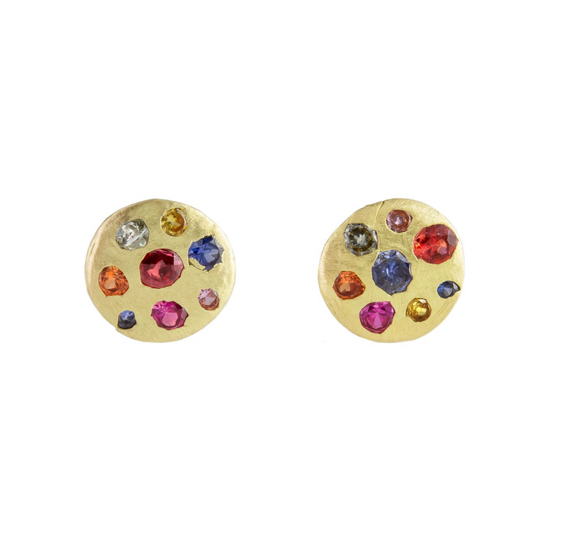 Small Rainbow Sapphire Crystal Disc Stud Earrings
