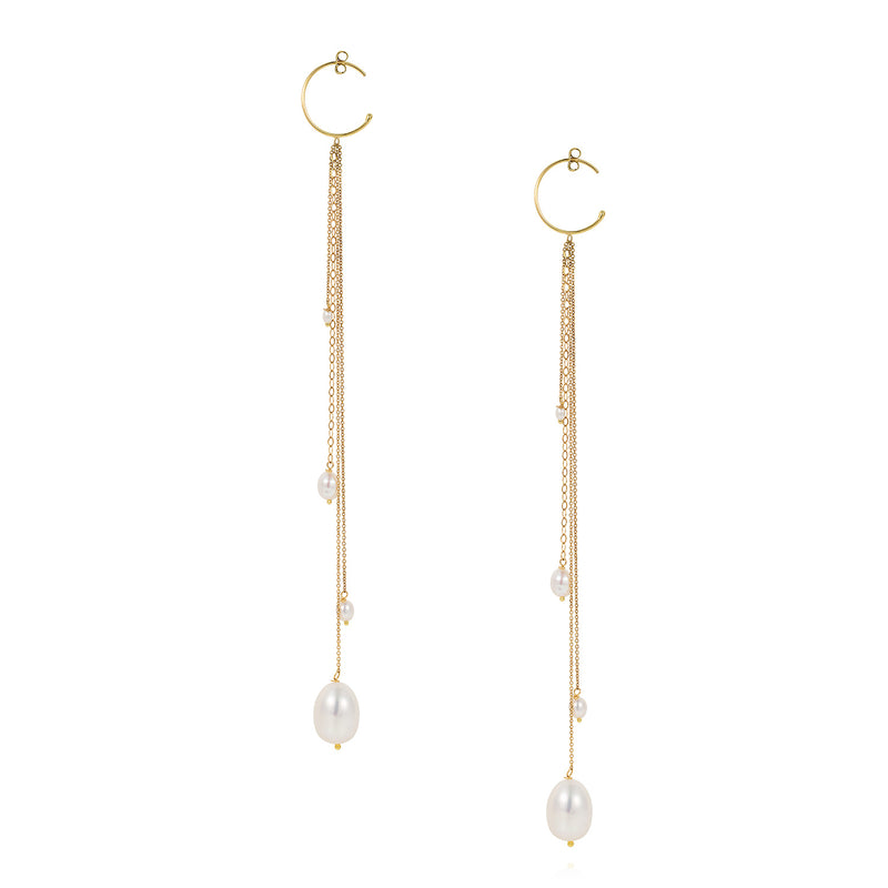 Snow Drop Pearl Small Hoops with Hanging Pearls