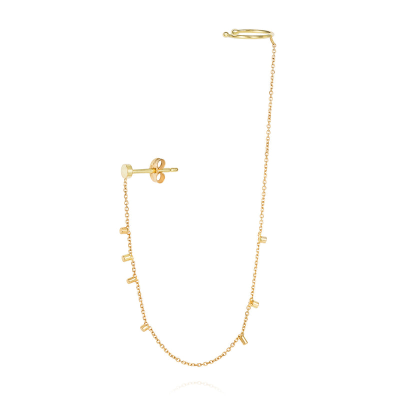 18CT YELLOW GOLD EARRING WITH DISC STUD AND EAR CUFF JOINED BY CHAIN WITH 18CT GOLD SPECKLES