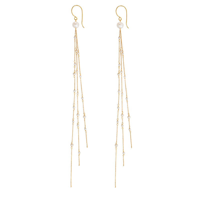 FLAPPER GIRL PEARL LONG HOOK EARRINGS