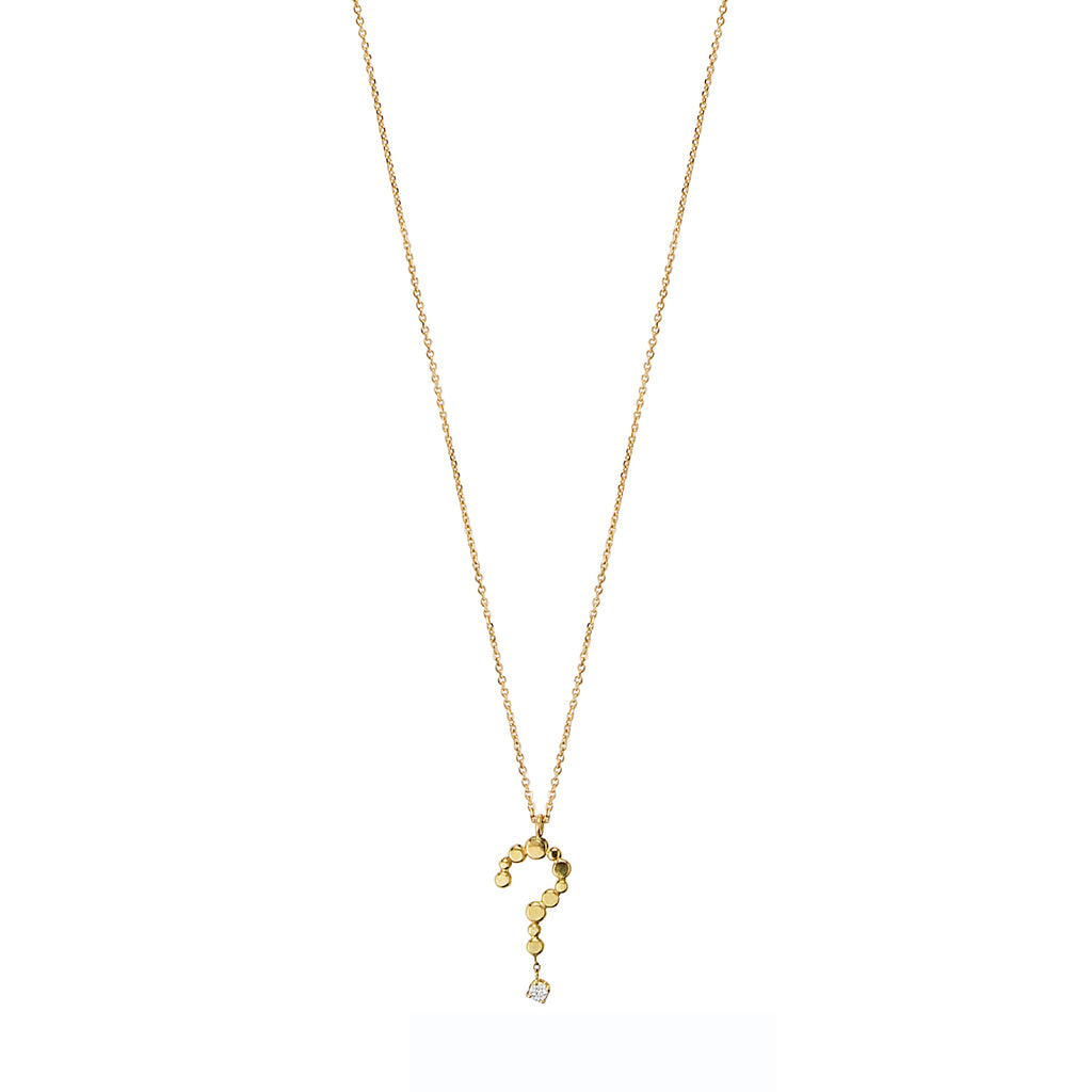 18CT YELLOW GOLD FINE CHAIN SHORT NECKLACE WITH LOVE LETTER QUESTION MARK WITH DIAMOND