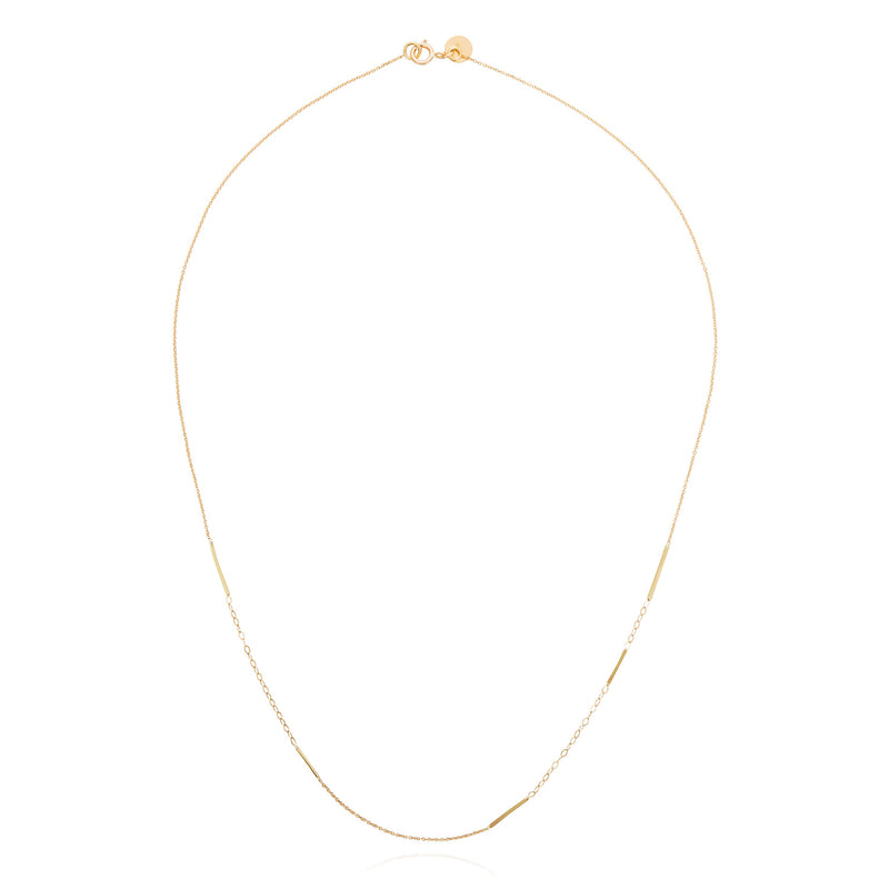 18ct yellow gold single strand necklace with inserted gold bars
