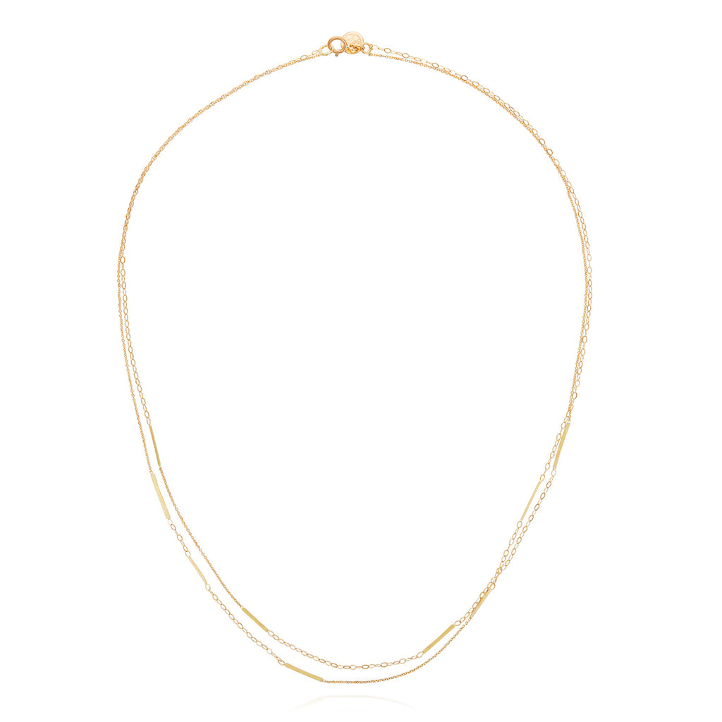 18CT GOLD FINE AND OVAL CHAIN DOUBLE STRAND NECKLACE WITH 9 INSERTED BARS
