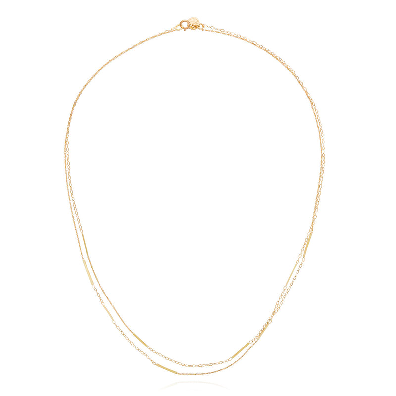 18ct gold double strand necklace with 9 inserted golden bars