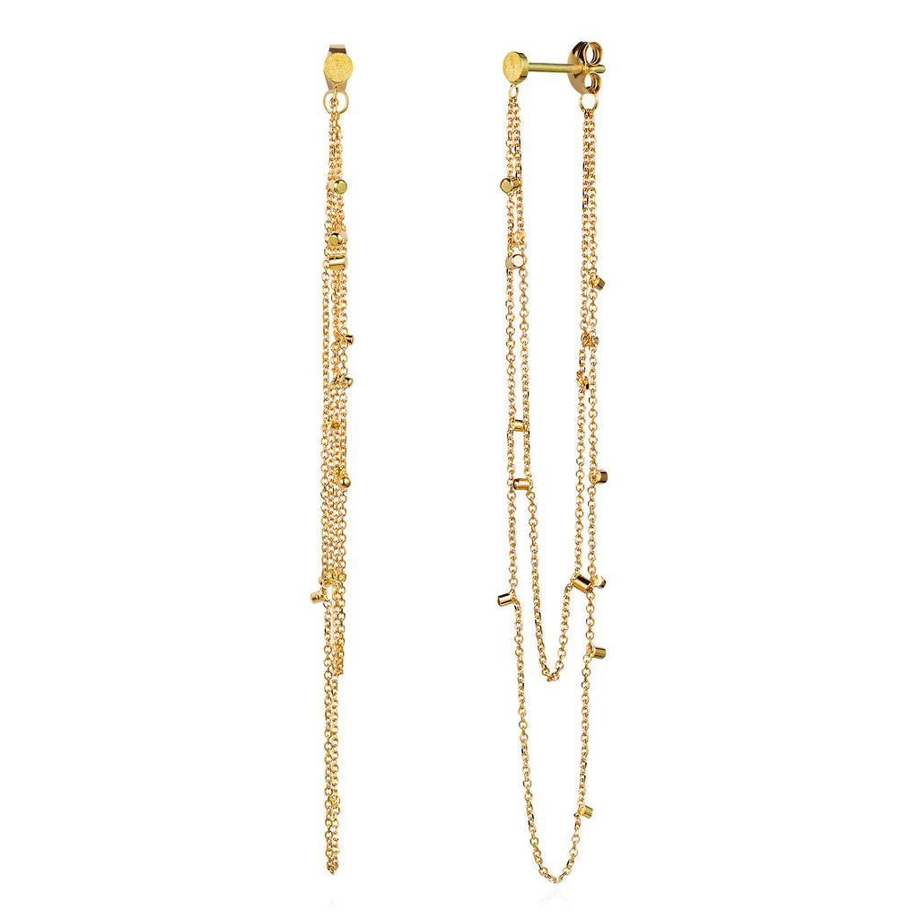 18CT YELLOW GOLD SMALL STUDS WITH 2 STRANDS OF LOOPED CHAIN WITH GOLD DUST SPECKLES