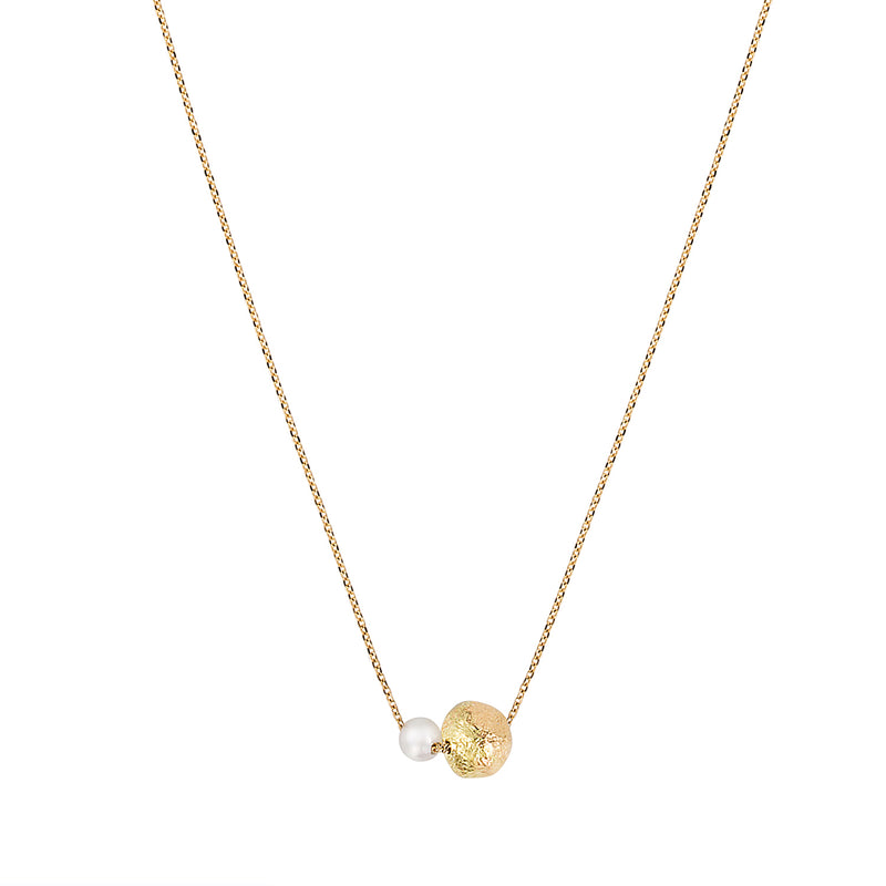Pearl and Golden Ball Long Necklace