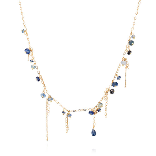 Pogo Punk Long Blue Sapphire Necklace