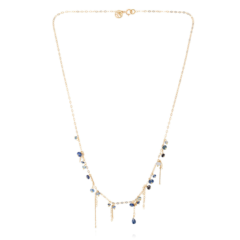 18ct yellow gold Blue Sapphire Necklace