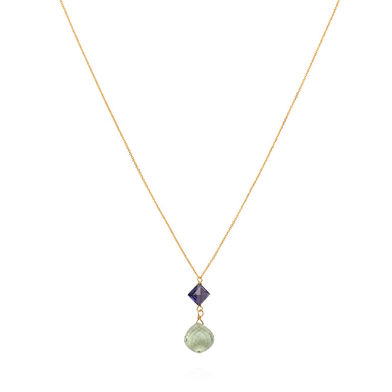 OPAL FOUNTAIN NECKLACE WITH IOLITE AND AMETHYST