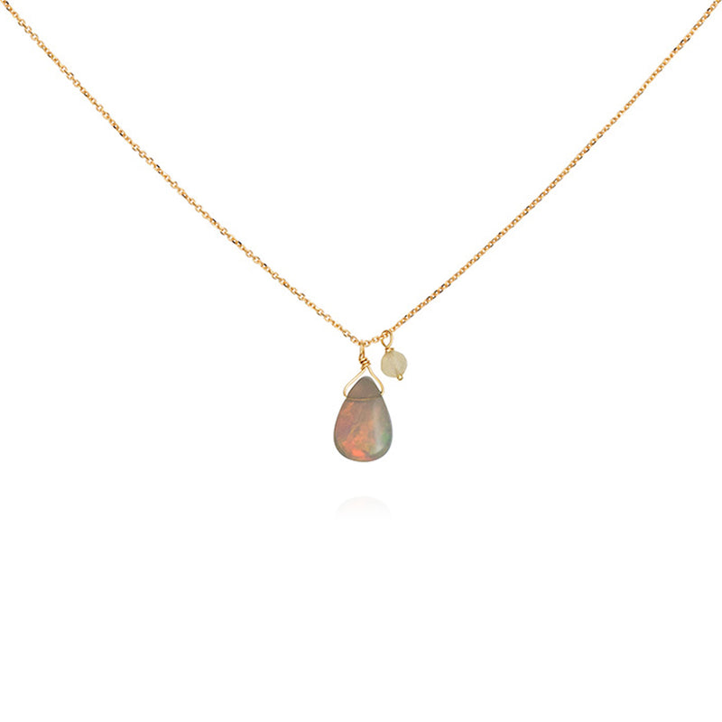 OPAL FOUNTAIN NECKLACE WITH OPAL DROP