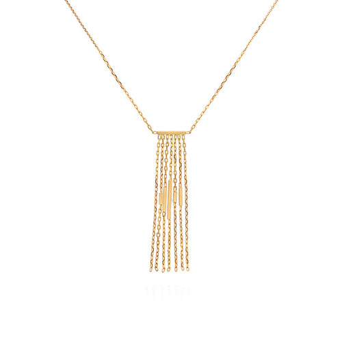 DECO DECADENCE BAR NECKLACE WITH LAYERED CHAINS