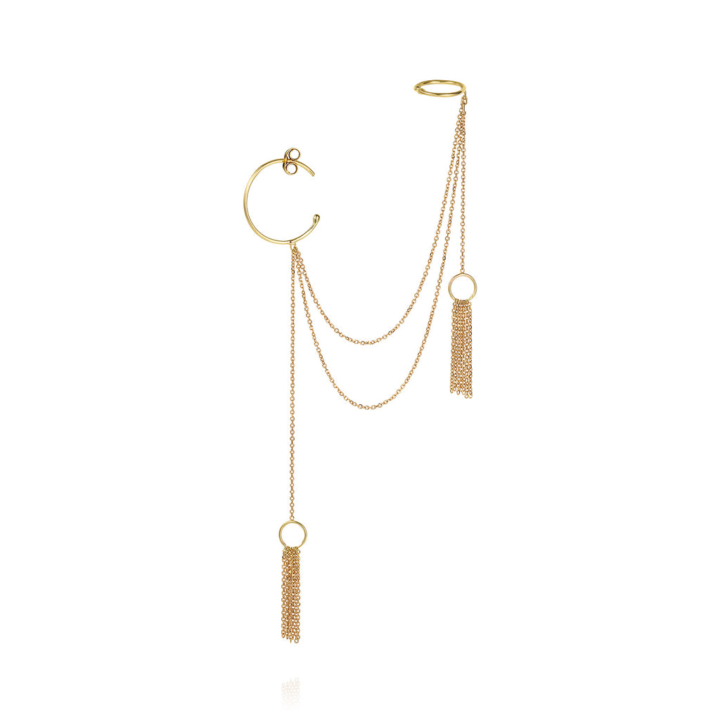 18 CT YELLOW GOLD SMALL HOOP WITH DOUBLE DRAPED CHAINS CONNECTING TO EARCUFF AND TWO GOLD TASSELS
