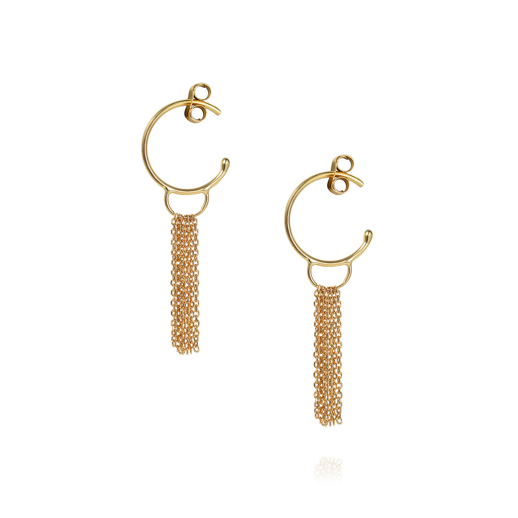 18 CT YELLOW GOLD SMALL HOOPS WITH GOLD TASSEL