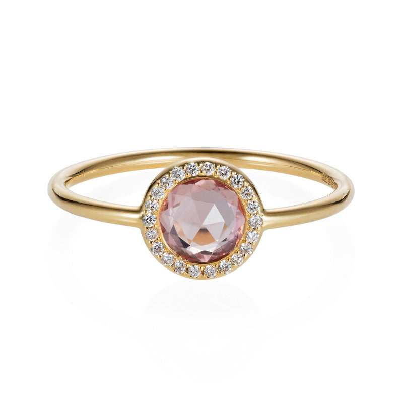 18 CT YELLOW GOLD RING SET WITH A ROUND PINK ROSE CUT SAPPHIRE SURROUNDED BY A DIAMOND PAVED HALO
