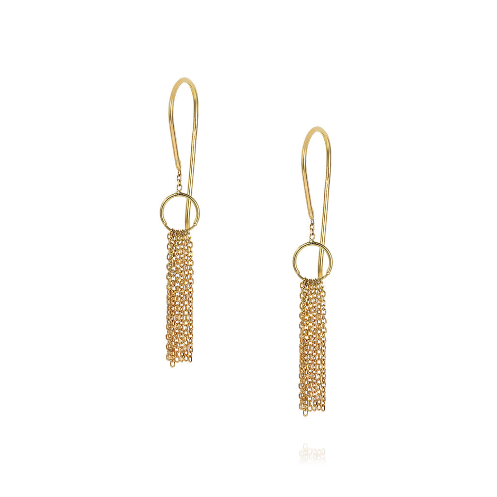18 CT YELLOW GOLD HOOKS WITH GOLD TASSEL