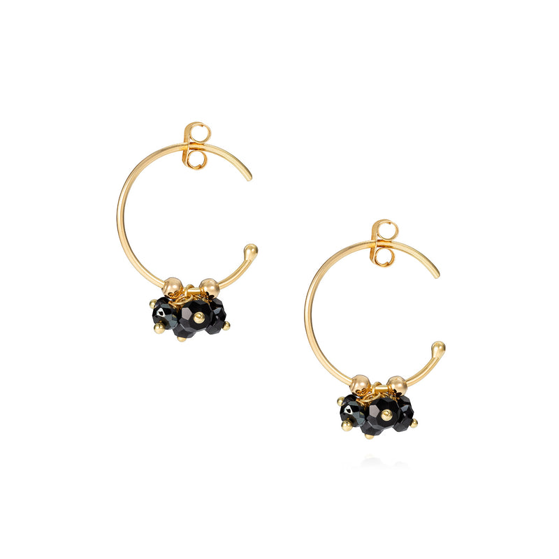 POGO PUNK BLACK SPINEL CLUSTER HOOPS