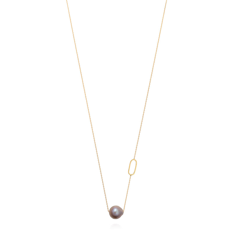 LINKED WITH LOVE LONG NECKLACE WITH PINK BAROQUE PEARL