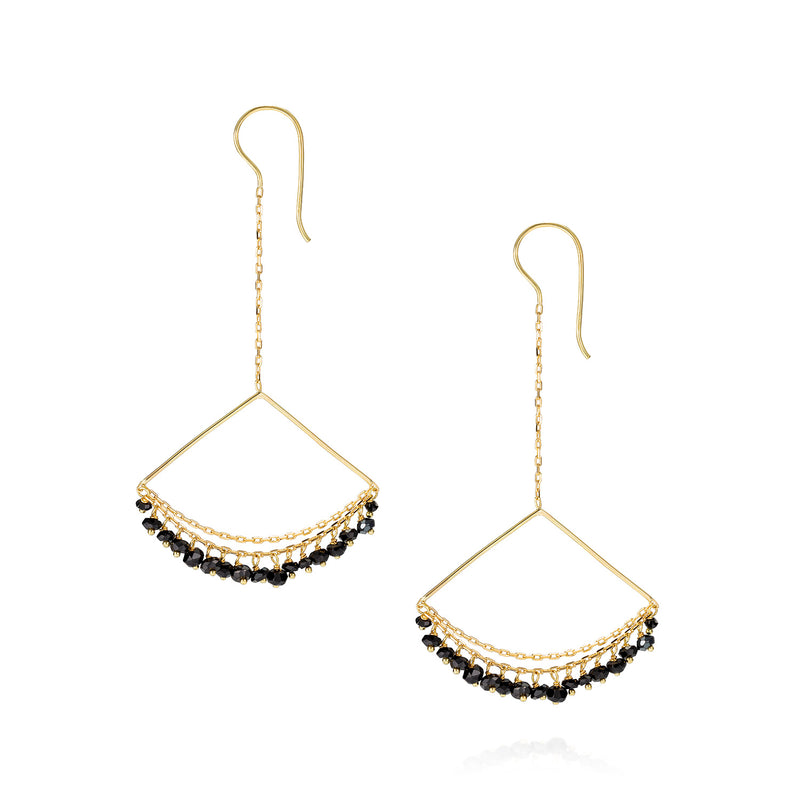 Black Spinel Chandelier Earrings