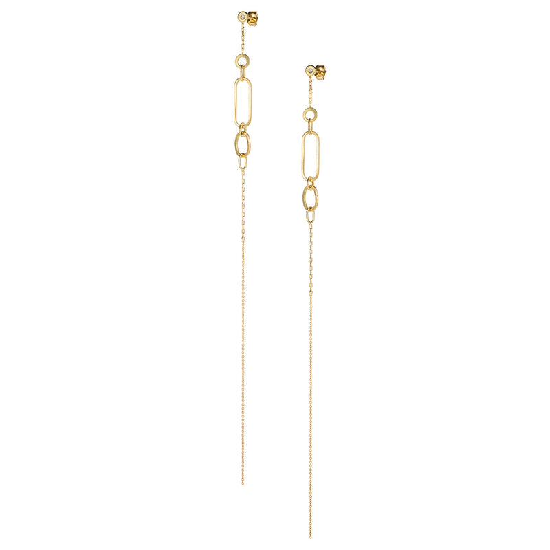 LINKED WITH LOVE LONG STUD EARRING